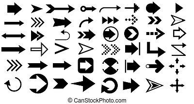 Arrows big black set icons