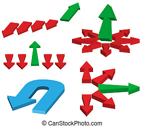 Arrows - Set of Different Red And Green Arrows