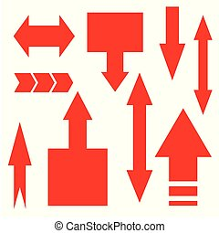 Arrows collection, flat elegant style. Set of directions, signs left, right, up down. Abstract elements for business infographic.