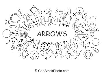 Arrows collection in doodle style. Hand drawn