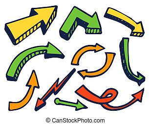 Arrows Colorful Set Hand Drawn Vector Illustration