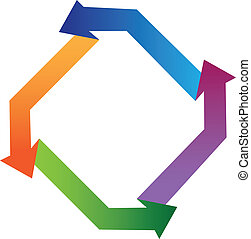 Arrows colorful shape logo vector