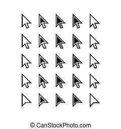 arrows., cursor, icons., ratón, indicador, set., vector