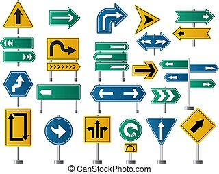 Arrows direction. Road signs for street or highway traffic navigation vector pictures of arrows