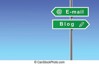Arrows e-mail blog. - Arrows e-mail blog on sky background.