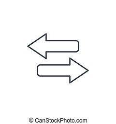 Arrows Exchange thin line icon. Linear vector symbol