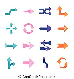 Arrows flat style icons collection vector design