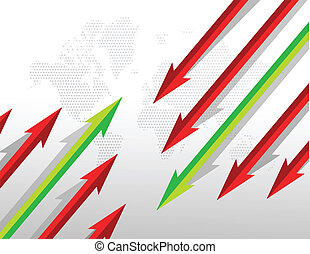 Arrows going in opposite directions. illustration design
