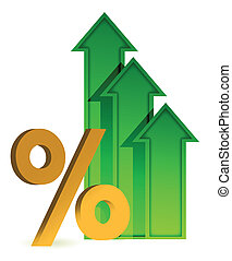 arrows going up and percentage symbol illustration design