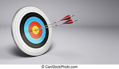 Two arrows hitting the center of a target, grey background. 3D render illustration