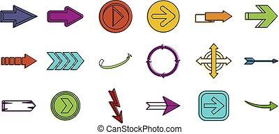 Arrows icon set, color outline style