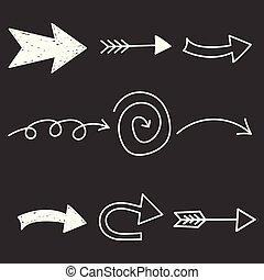 Arrows icon set. Hand drawn vector illustration on black background.