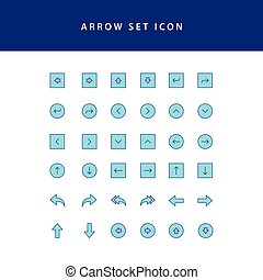 arrows icons set filled outline