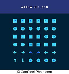 arrows icons set flat style design