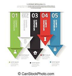 arrows., illustration., ビジネス, 抽象的, 現代, ベクトル, infographics