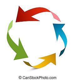 Arrows in Circle. Paper Arrow Vector Illustration.