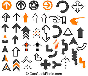 Arrows  in different styles and shapes on the white