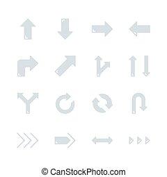 Arrows in flat icon set design. Vector illustration