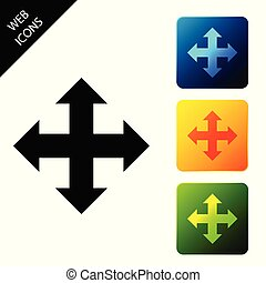 Arrows in four directions icon isolated on white background. Set icons colorful square buttons. Vector Illustration