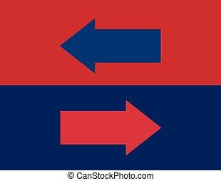 Arrows in opposite directions Like