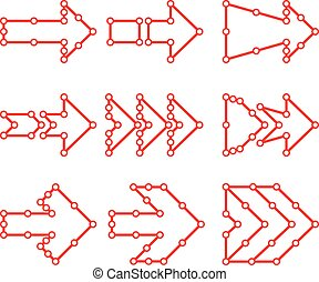 Arrows in the form of lines, dots connected