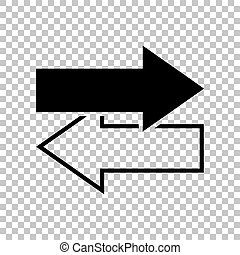 Arrows left right icon. Exchange sign. Black icon on transparent background. Illustration.