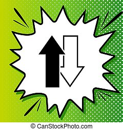 Arrows left right icon. Exchange sign. Black Icon on white popart Splash at green background with white spots. Illustration.