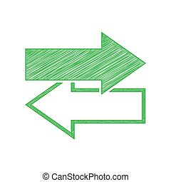 Arrows left right icon. Exchange sign. Green scribble Icon with solid contour on white background. Illustration.