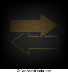 Arrows left right icon. Exchange sign. Icon as grid of small orange light bulb in darkness. Illustration.