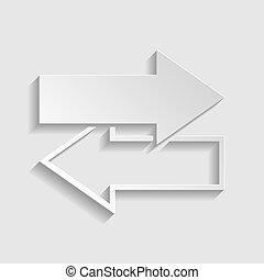 Arrows left right icon. Exchange sign. Paper style icon. Illustration.