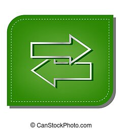 Arrows left right icon. Exchange sign. Silver gradient line icon with dark green shadow at ecological patched green leaf. Illustration.