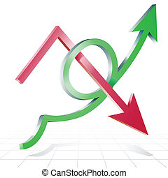 Arrows line success growing upward and decline on graph background