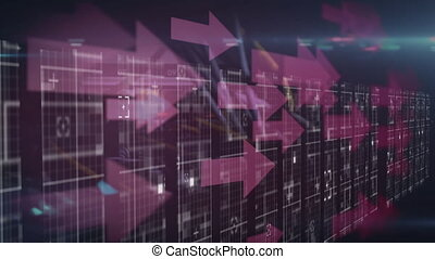 Digital animation of data processing over purple arrows moving and bright spot of light against blue background. Digital computer interface concept