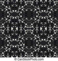 arrows of pixels on a black background