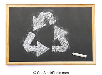 arrows of recycling drawn on a blackboard with chalk.(series)