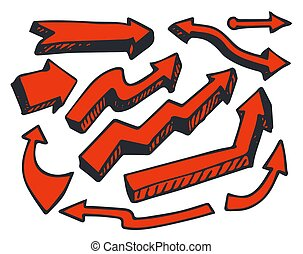 Arrows of Red Color Hand Drawn Vector Illustration