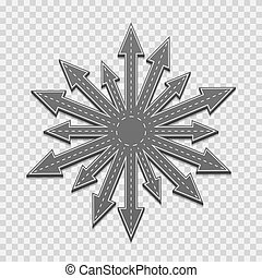 Arrows of the road in all directions directions, on a transparent background. Vector illustration