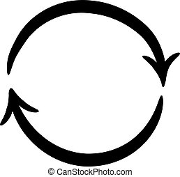 arrows on a circle on white background of vector...