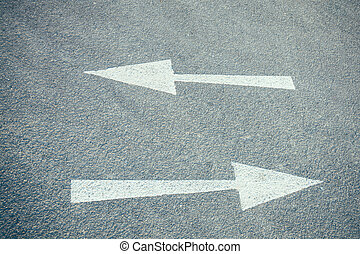 Arrows on a road