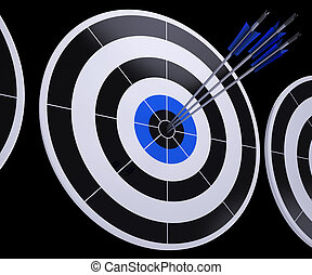 Arrows On Dartboard Shows Successful Hitting