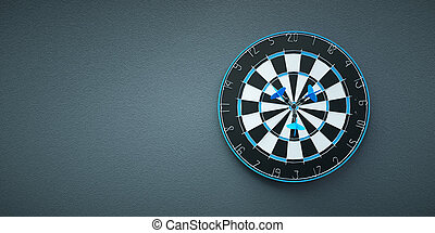 Arrows on target dart on grey background