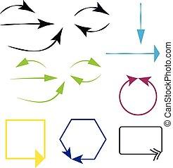 Arrows on white background