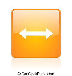 arrows orange square glossy web icon