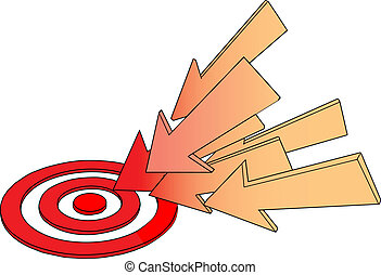 Arrows point at hot target drawing