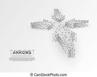 Arrows pointing in the middle. Business success concept. Polygonal science origami style Vector. Neon Low poly