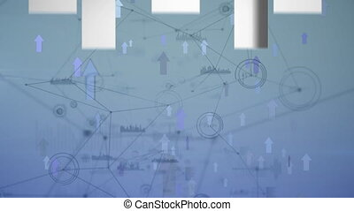 Animation of arrows pointing up and data rotating in global market on a blue background