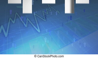 Animation of arrows pointing up and graph is displayed in global market on a blue background