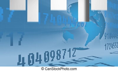 Animation of arrows pointing up and numbers moving in global market on a blue background