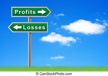Arrows road sign profits losses on sky background.