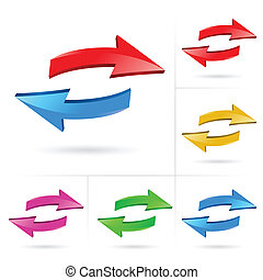 3D arrow color sketchy design elements set vector illustration #1
